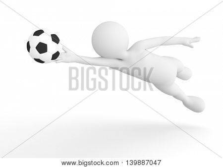Toon man soccer goalkeeper saving the ball from goal. Football concept. White background. 3D illustration
