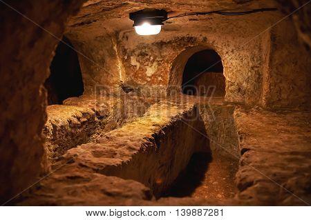 ancient christian cemetery (catacombs) of Saint Paul. Rabat Malta.