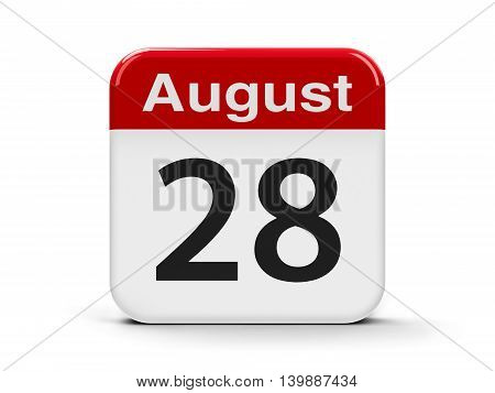 Calendar web button - The Twenty Eighth of August three-dimensional rendering 3D illustration