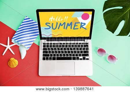 Laptop Hello Summer Seashell Sunglasses Concept