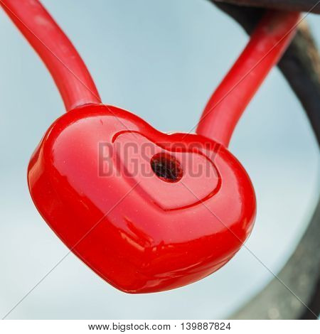 Red Heart Lock Padlock Romance Love Valentine Day Concept, Large Isolated Macro Closeup Studio Shot