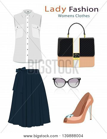 Fashion clothes set with accessories. Realistic colorful detailed woman clothing. Flat style vector illustration.