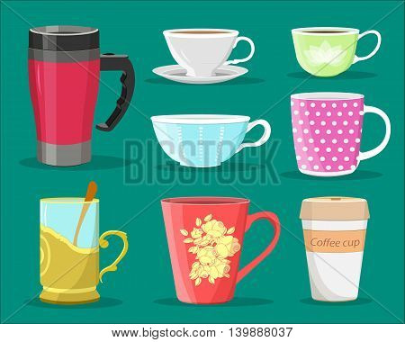 Detailed graphic set of colorful cups for coffee and tea, glass with spoon and paper coffee cup. Flat style vector illustration.