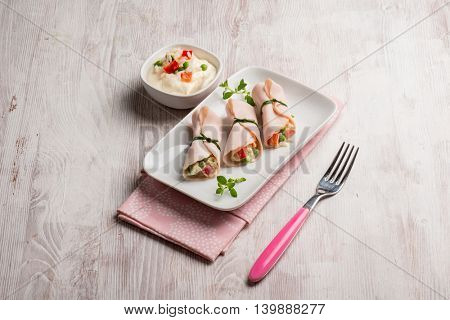 turkey ham filled with rice salad