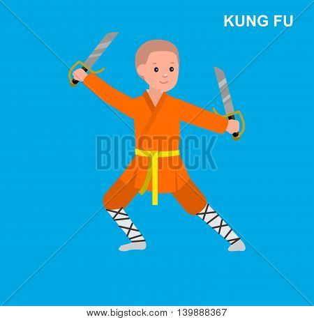 Cute vector character kid Shaolin monk. Illustration for martial art kung fu poster