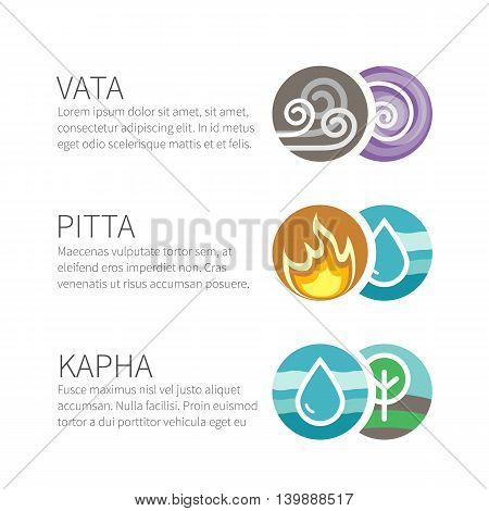 Ayurveda vector elements and doshas with text isolated on white. Vata, pitta, kapha doshas with ayruvedic elements icons. Template for ayurvedic infographic and web site, doshas symbols