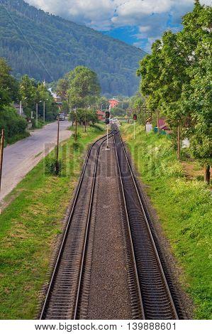 top view of the railway in the town of Yaremcha in Ukraine