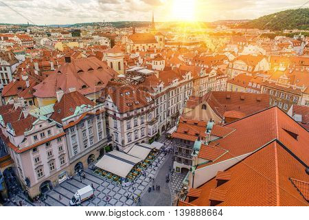 Prague Czechia Old Town Bird Eye View. Summer Sunset in the Prague.