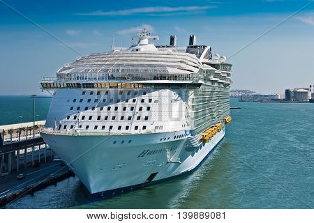 Barcelona Spain - June 7 2016: Royal Caribbean's Harmony of the Seas is now the largest ship in the world with a gross tonnage of 226963.