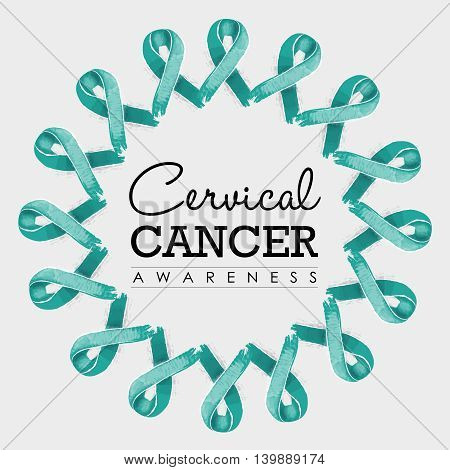 Cervical Cancer Awareness Ribbon Design With Text