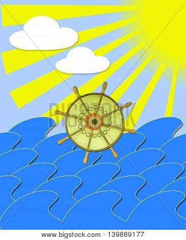 illustration of marine waves with steering-wheel and sun beams