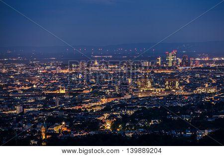 Vienna Austria at Night. Illuminated Cityscape Scenery. Vienna Europe.