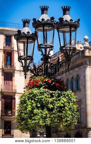 Historic looking lamp post in Barcelona with colorful plants and vnes.