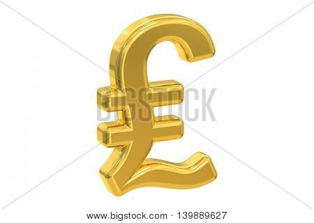 pound sterling symbol 3D rendering isolated on white background