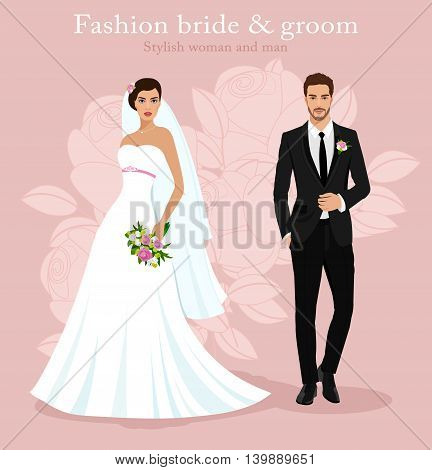Cute young married couple: fashion beautiful bride with bouquet and handsome groom in stylish suit. Modern detailed graphic wedding set. Flat style vector illustration.