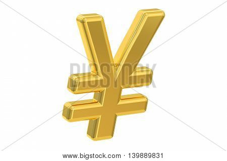 yen or yuan symbol 3D rendering isolated on white background