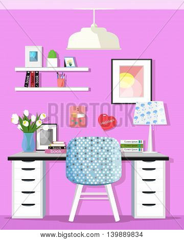 Cute graphic home office room interior with desk and chair. Flat style vector illustration.