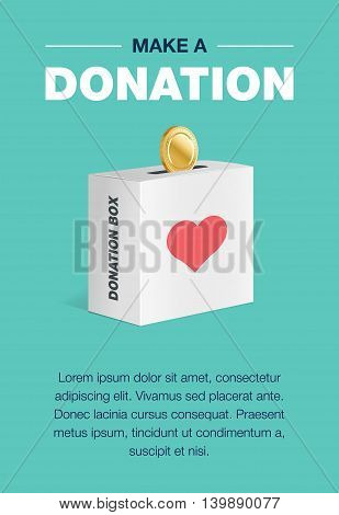 Charity and donation poster set. Flat design. For background and invitation card. Brochure layout template in A4 size. Vector illustration of the donation box for coins