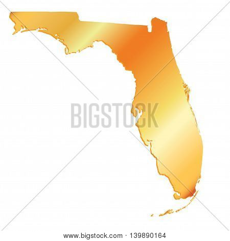 3D Florida (USA) Gold outline map with shadow