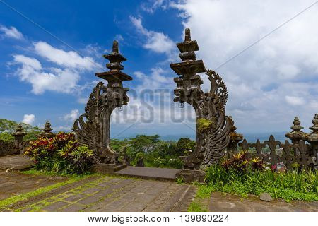 Pura Besakih temple - Bali Island Indonesia - travel and architecture background