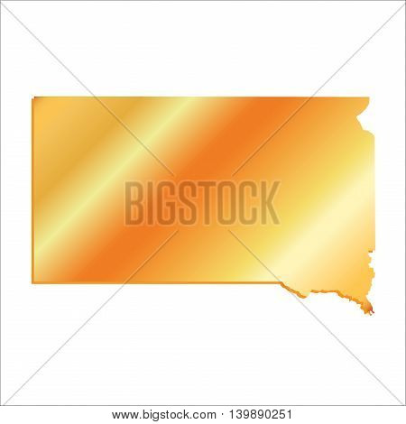 3D South Dakota State Gold outline map with shadow
