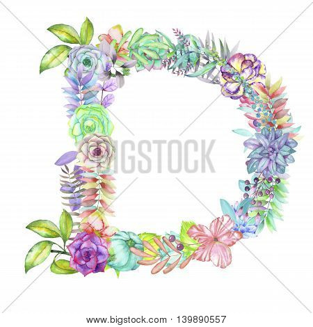 Capital letter D of watercolor flowers, isolated hand drawn on a white background, wedding design, english alphabet for the festive and wedding decor and cards