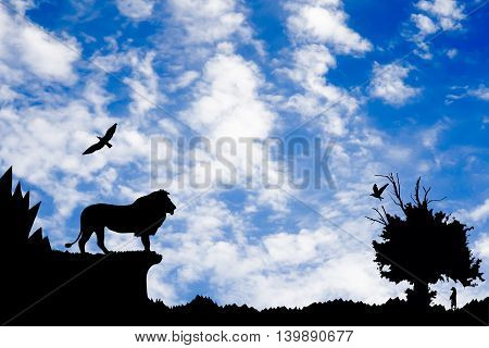 Jungle With Mountains, Old Tree, Birds Lion And Meerkat On Blue Cloudy Sky Background