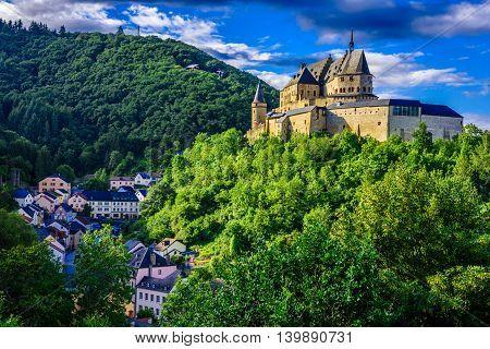 Medieval Vianden Castle in Vianden city, Luxembourg