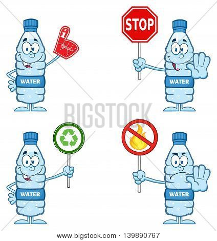 Water Plastic Bottle Cartoon Mascot Character 5. Set Collection Isolated On White Background