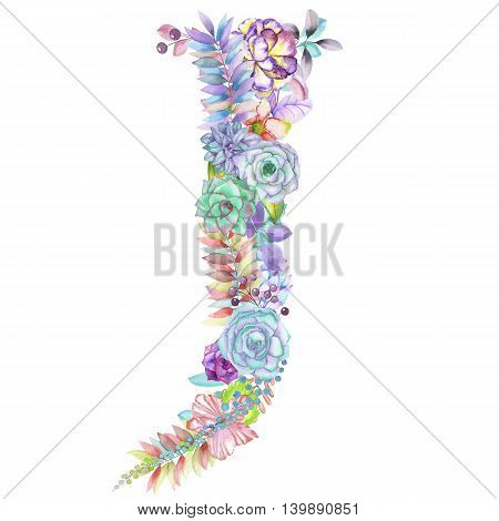 Capital letter J of watercolor flowers, isolated hand drawn on a white background, wedding design, english alphabet for the festive and wedding decor and cards