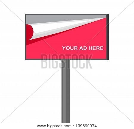 Flat billboard illustration for outdoor advertising isolated on white background