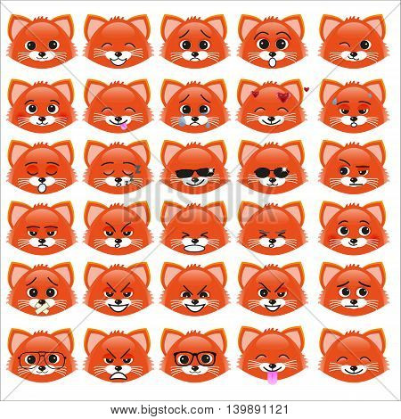 Set of funny kitten emoticons - smiling red kittens with different emotions from happiness to angry isolated on white background. Can be used for logos icons signs avatars web decor other design