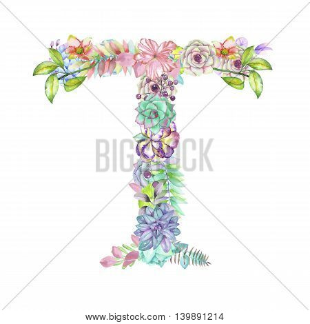Capital letter T of watercolor flowers, isolated hand drawn on a white background, wedding design, english alphabet for the festive and wedding decor and cards