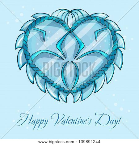 happy valentines day cards with ice heart - vector