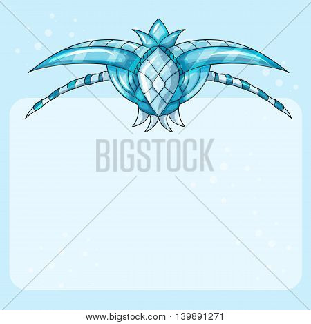 Ice Blank board - blue cartoon vector illustration