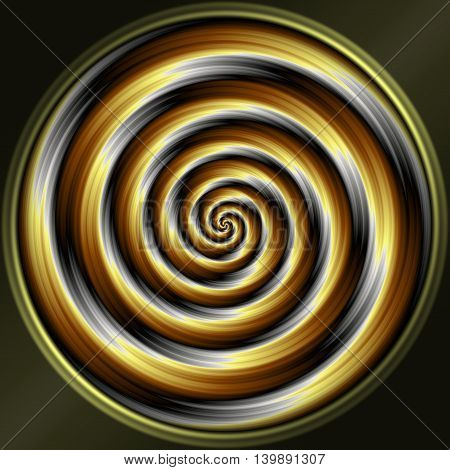 Abstract decorative sphere - gold and silver spiral pattern
