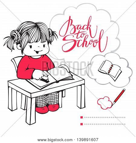 Vector illustration on the school theme. Little girl reading a book.