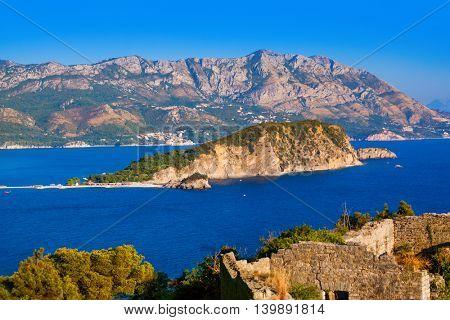 Island St. Nicholas in Budva Montenegro - travel background