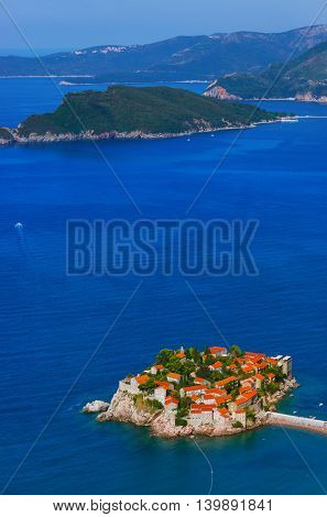 Island Sveti Stefan - Montenegro - architecture and nature background