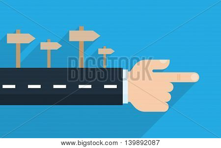 Finger pointing direction. Vector illustration. Success growth rates