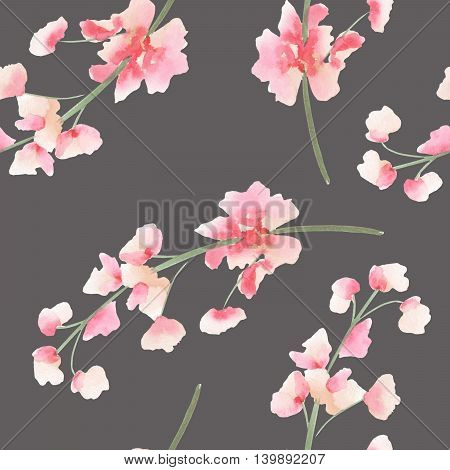 Seamless pattern with the isolated watercolor pink and red Delphinium (Larkspur) flower, hand drawn on a dark background