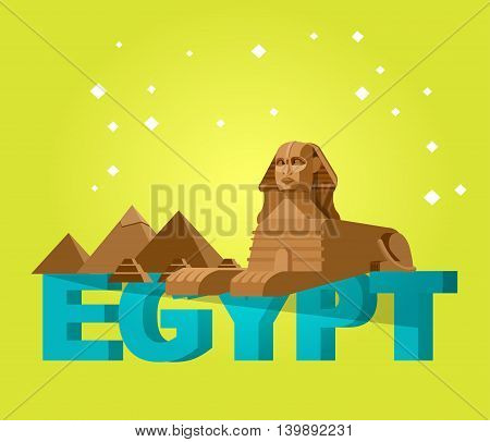 High quality, detailed most famous World landmark. Sphinx and pyramids background