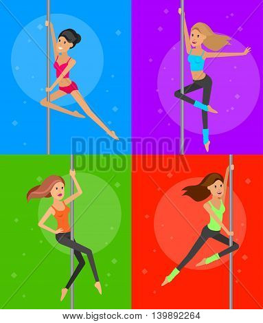 Vector detailed character Fit girl dancing around the pole, training for sexy woman