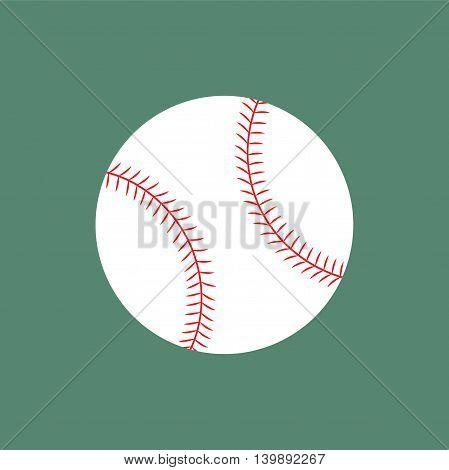 Flat icon white baseball ball. Vector illustration.