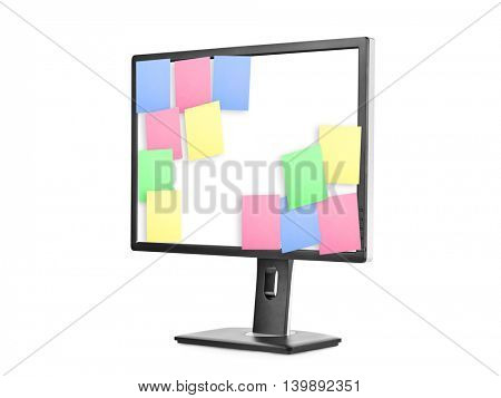 Sticky Note Papers on computer screen isolated on white background