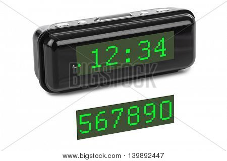 Digital clock isolated on white background