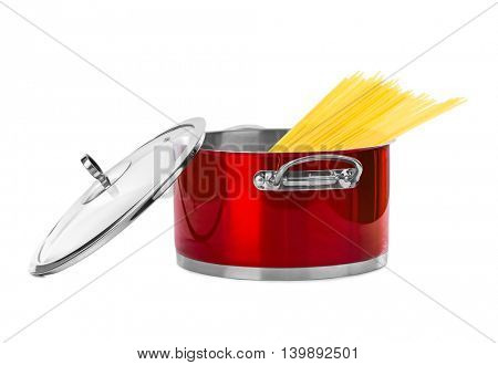 Spaghetti in pan isolated on white background