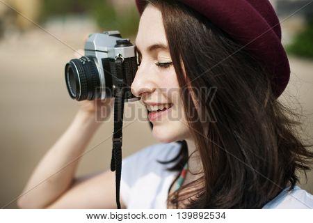 Girl Camera Smiling Traveler Concept