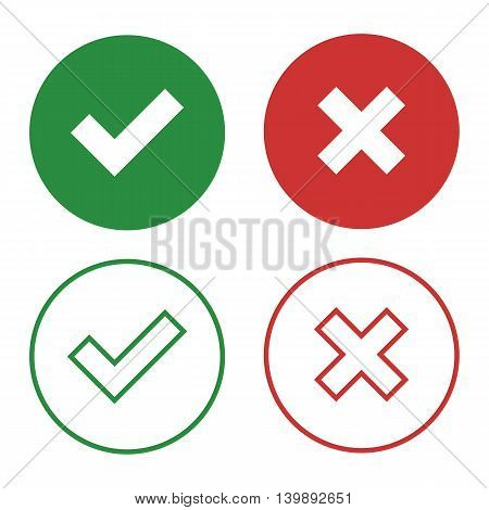 Set of flat buttons checkmark and close and line buttons checkmark and close.