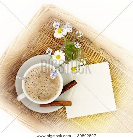 picnic with a bouquet of wild flowers the Andes a frothy coffee top view / Coffee with the scent of flowers